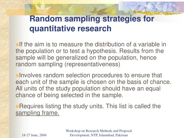 Random sampling strategies for quantitative research