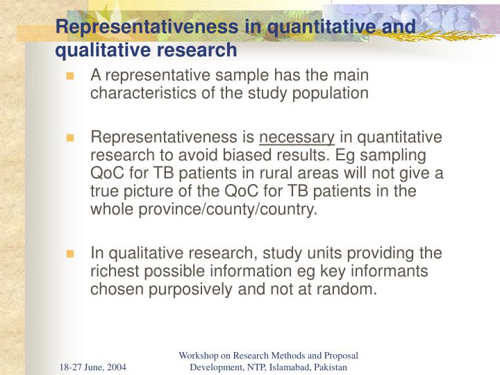 Representativeness in quantitative and qualitative research
