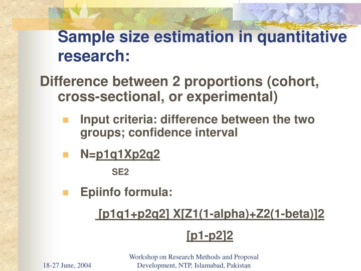 Sample size estimation in quantitative research: