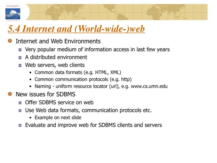 5.4 Internet and (World-wide-)web