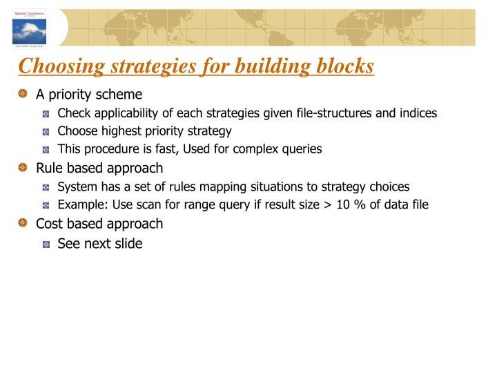Choosing strategies for building blocks