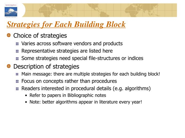 Strategies for Each Building Block
