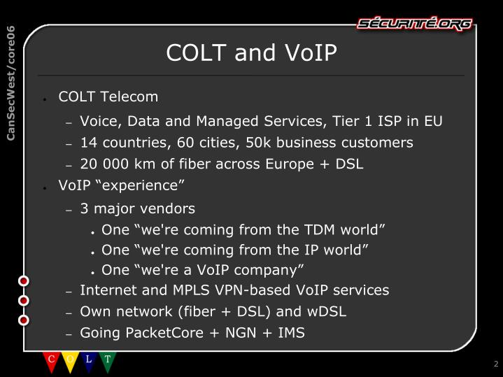 Colt and voip