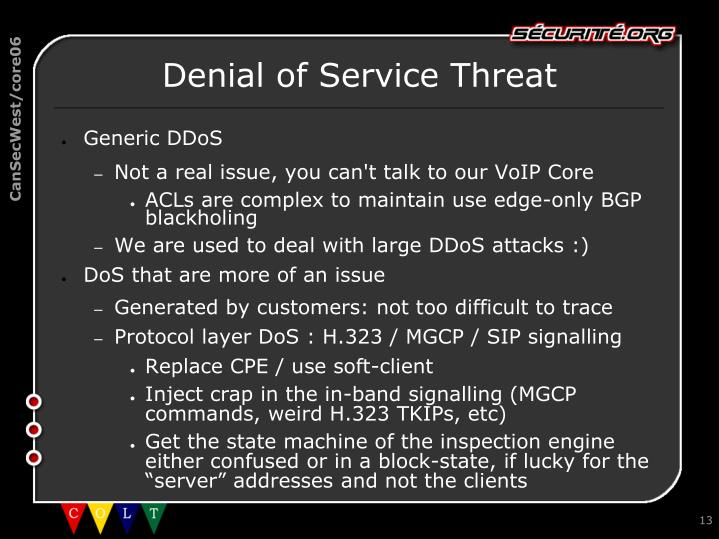 Denial of Service Threat