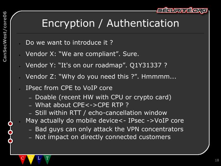Encryption / Authentication