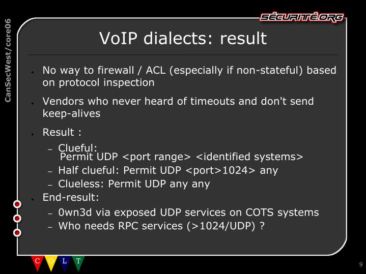 VoIP dialects: result