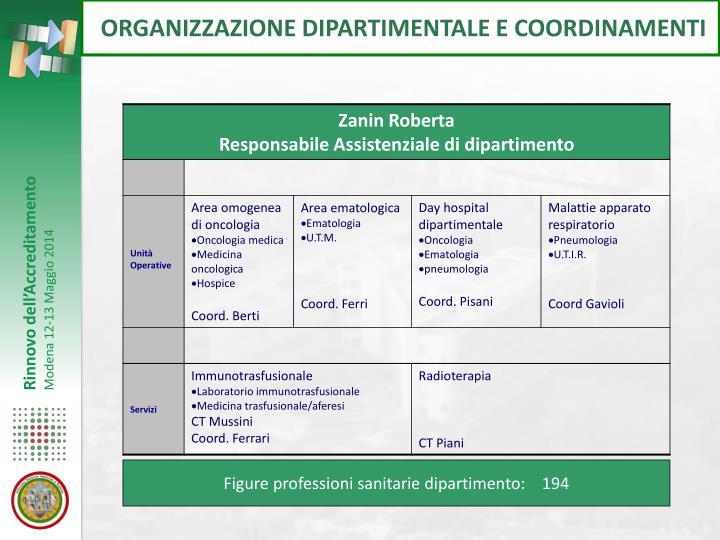 ORGANIZZAZIONE DIPARTIMENTALE E COORDINAMENTI
