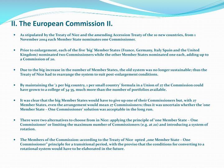 II. The European Commission II.