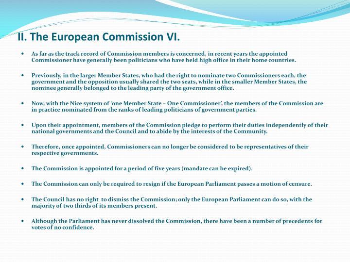 II. The European Commission VI.