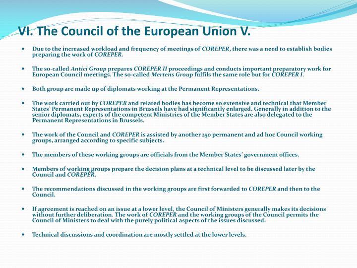 VI. The Council of the European Union V.