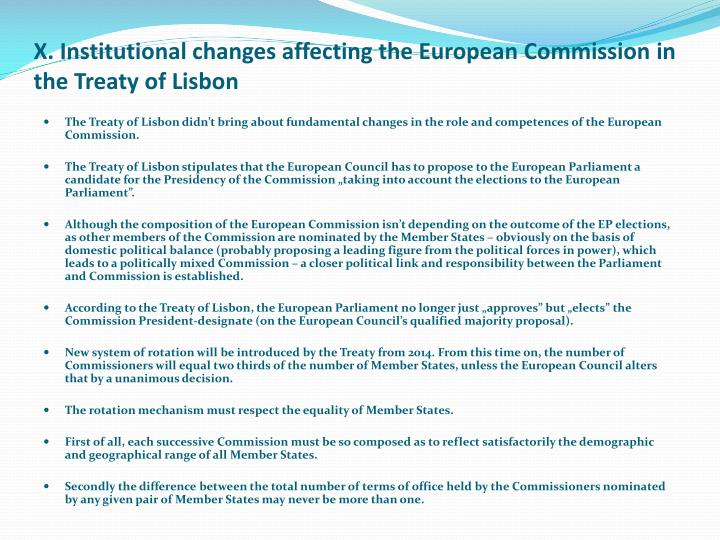 X. Institutional changes affecting the European Commission in the Treaty of Lisbon