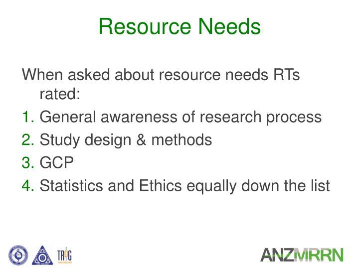 Resource Needs