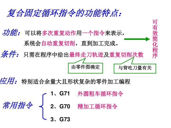 复合固定循环指令的功能特点: