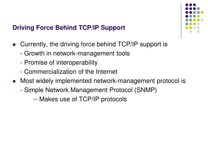 Driving Force Behind TCP/IP Support