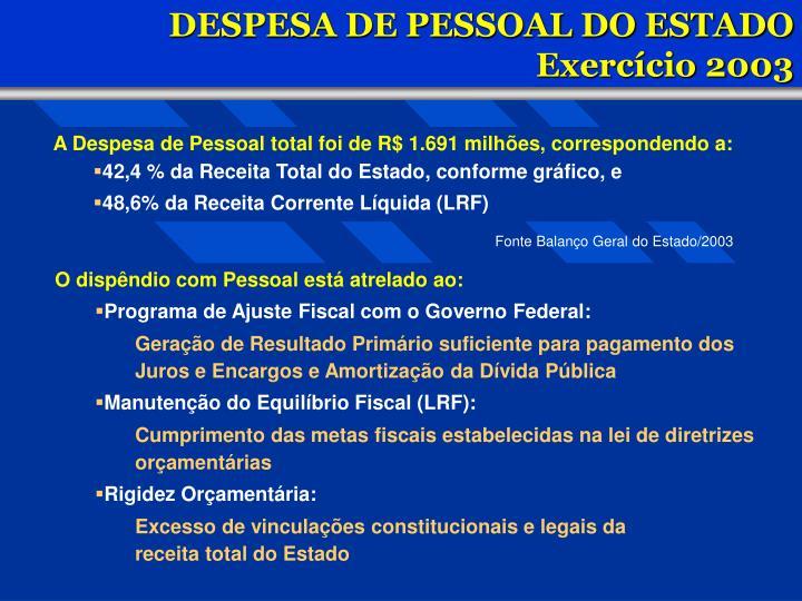 DESPESA DE PESSOAL DO ESTADO