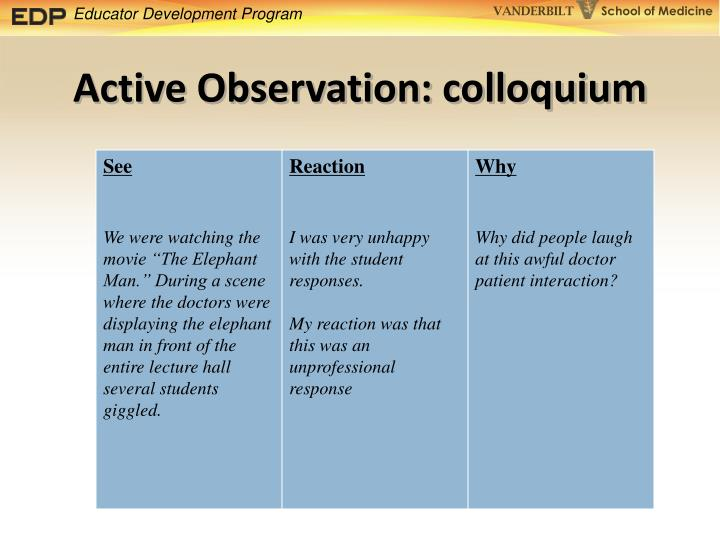 Active Observation: colloquium