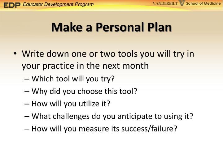 Make a Personal Plan