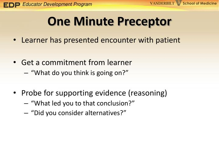 One Minute Preceptor