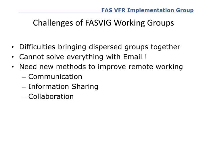 Challenges of FASVIG Working Groups