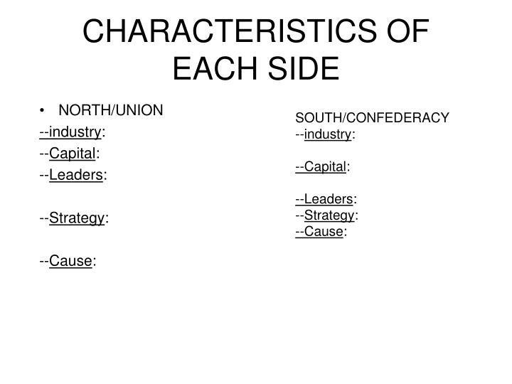 CHARACTERISTICS OF EACH SIDE