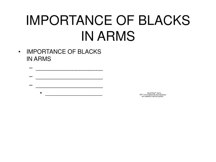 IMPORTANCE OF BLACKS IN ARMS
