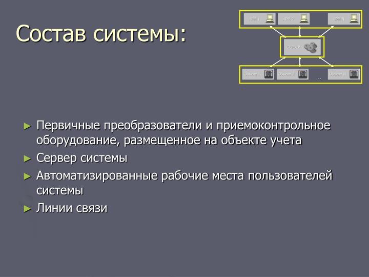Состав системы: