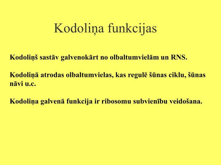 Kodoliņa funkcijas