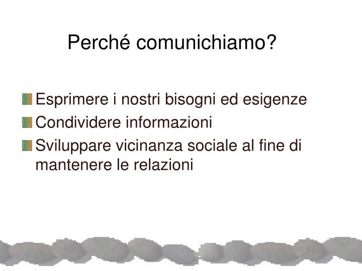Perché comunichiamo?
