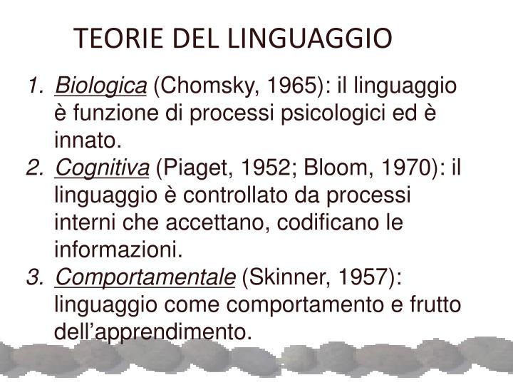 TEORIE DEL LINGUAGGIO