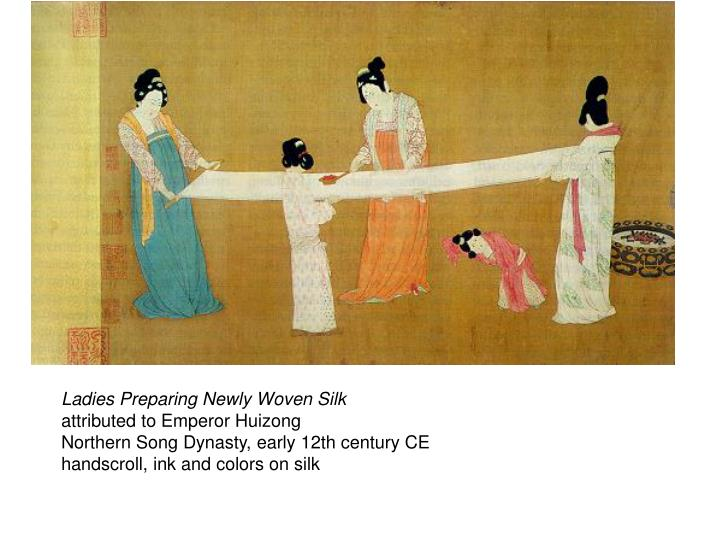 Ladies Preparing Newly Woven Silk