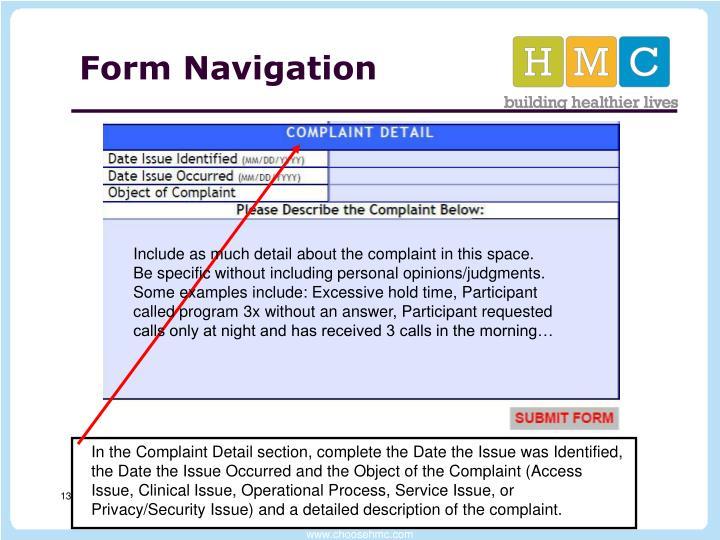 Form Navigation