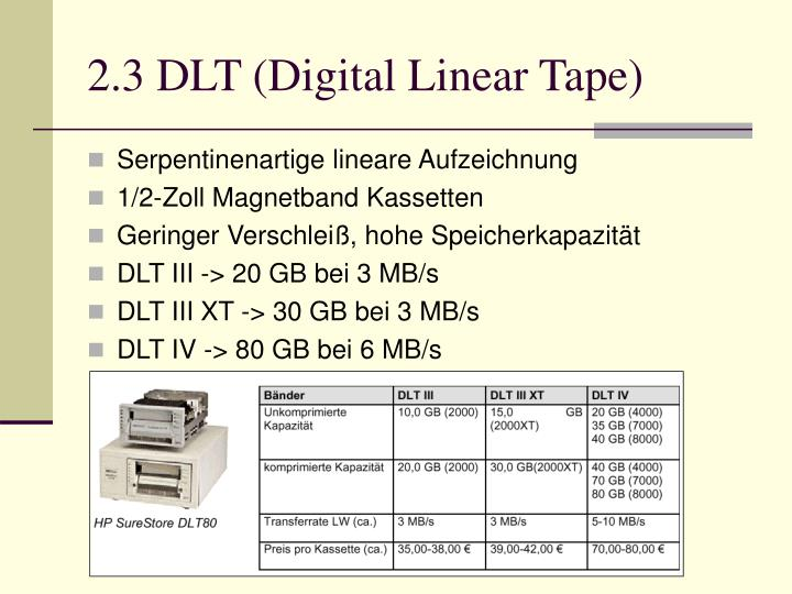 2.3 DLT (Digital Linear Tape)