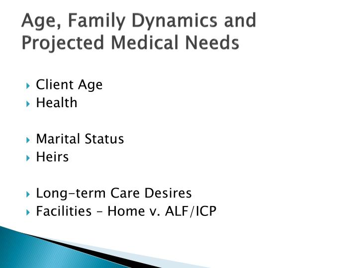 Age family dynamics and projected medical needs