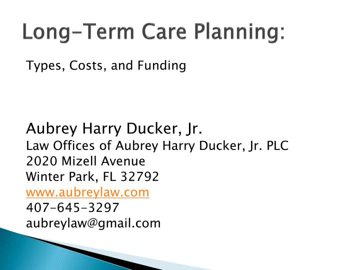 Long term care planning