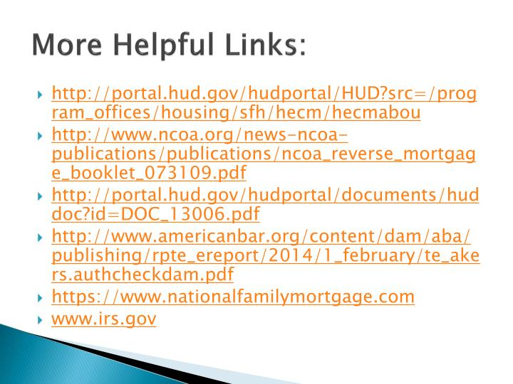 More Helpful Links:
