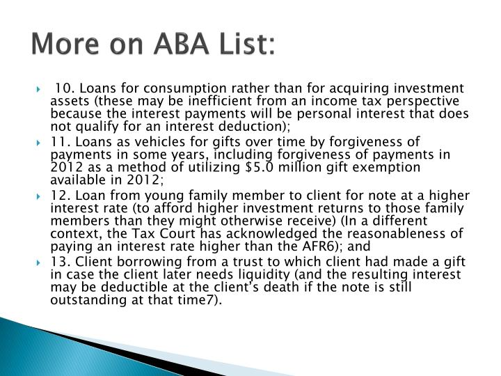 More on ABA List: