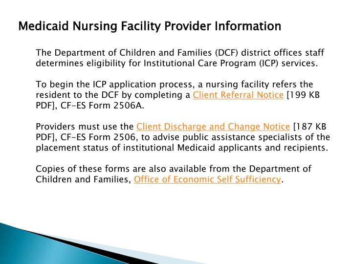 Medicaid Nursing Facility Provider Information