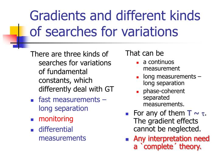 There are three kinds of searches for variations of fundamental constants, which differently deal with GT