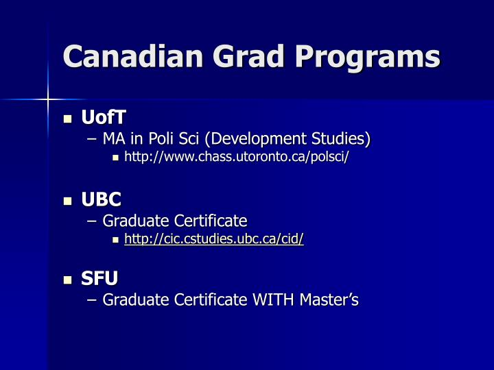 Canadian Grad Programs