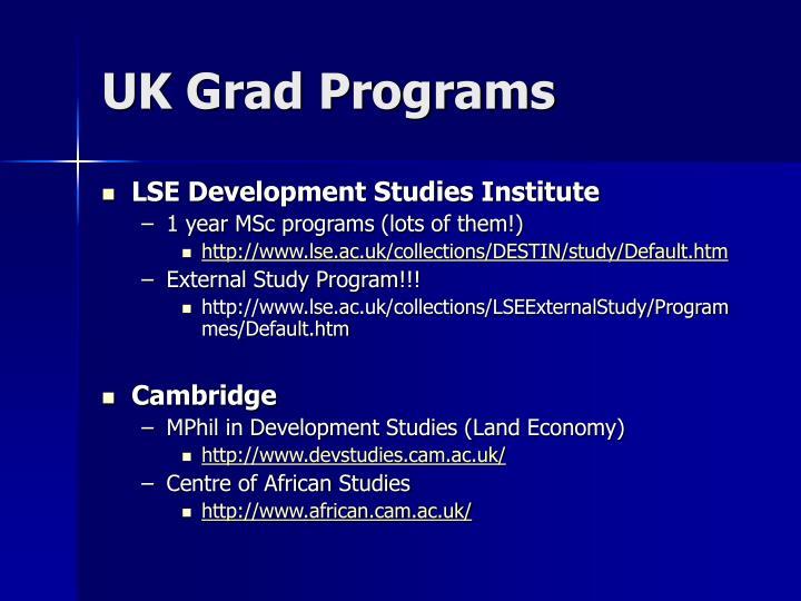 UK Grad Programs