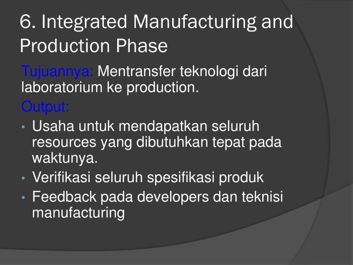 6. Integrated Manufacturing and Production Phase