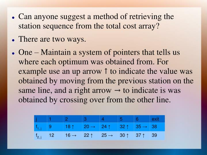 Can anyone suggest a method of retrieving the station sequence from the total cost array?