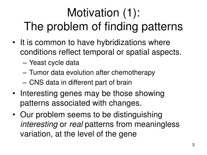 Motivation 1 the problem of finding patterns