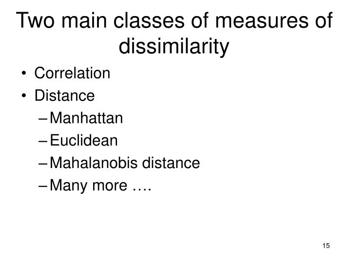 Two main classes of measures of dissimilarity