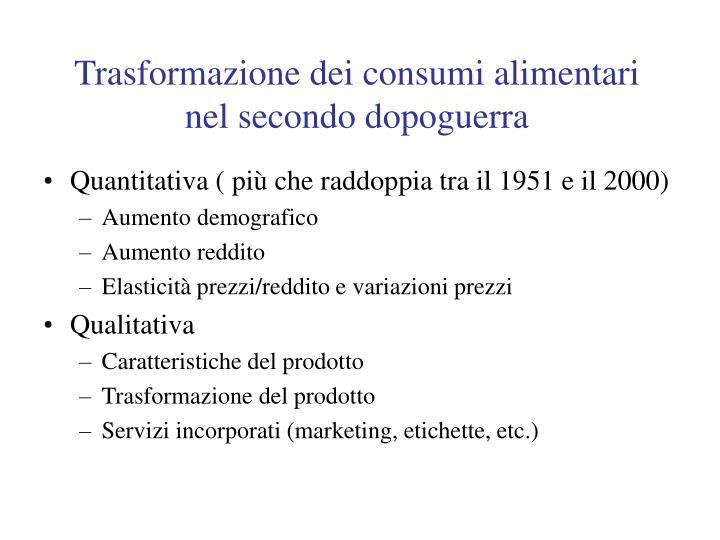 Trasformazione dei consumi alimentari nel secondo dopoguerra