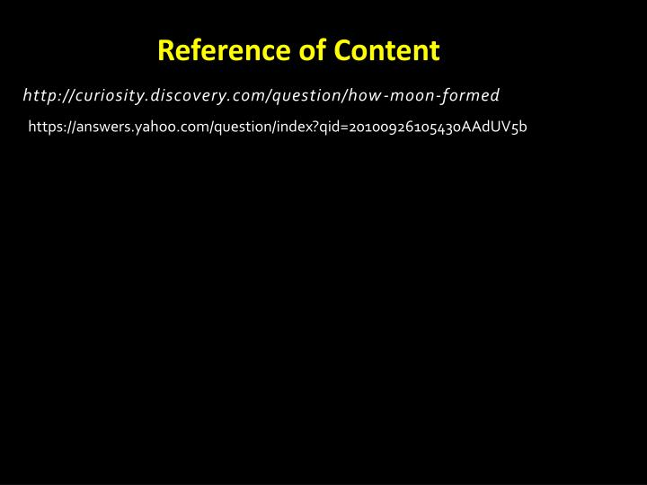 Reference of Content