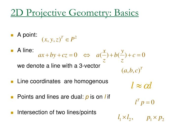 2D Projective Geometry: Basics