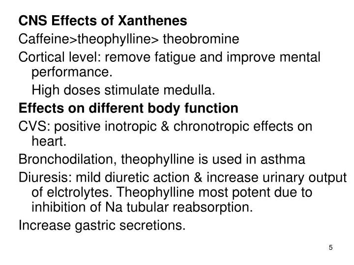 CNS Effects of Xanthenes