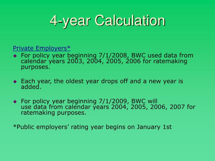 4-year Calculation