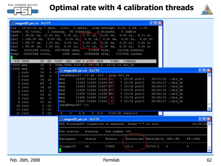 Optimal rate with 4 calibration threads